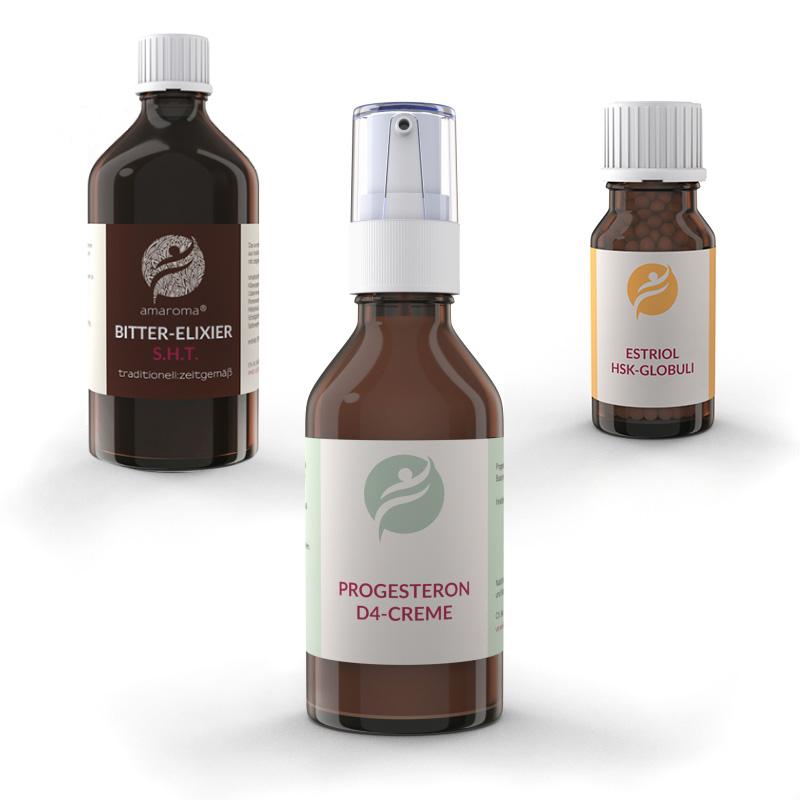 Bitter-Elxier S.H.T | Progesteron D4-Creme | Estriol HSK-Globuli